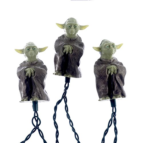 (Kurt S. Adler 10-Light Star Wars  Plastic Yoda Light Set, 30-Inch Lead Wire and 12-Inch Spacing. (SW9801))