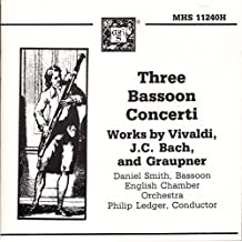 Three Bassoon Concerti ~ Release By Antonio Vivaldi, Johann Christian Bach, Johann Christoph Graupner; Daniel Smith, Sir Philip Ledger, English Chamber Orchestra Cd
