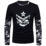 Men's Shirt ,Clearance Sale -Farjing Fashion Men's Autumn Camouflage Print Joint Long Sleeved Sweatshirts Top Blouse(M,Gray)