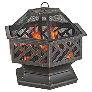 Uniflame 24 in hexagon wood burning fire pit for Amazon prime fire pit