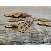 Wooden Heart Confetti ~ Happily Ever After ~ Wood Hearts, Wood Confetti Engraved Love Hearts- Rustic Wedding Decor (100 count)