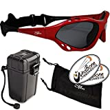 SeaSpecs Classic SunFire Specs Red Extreme Water Sports Floating Sunglasses w Hard Case Bundle (4 Items) + Waterproof Hard Padded Case +Carry Pouch + WindBone Kiteboarding Lifestyle Stickers Kite Surf