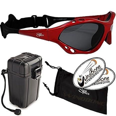 5df4fb5f64 SeaSpecs Classic SunFire Specs Red Extreme Water Sports Floating Sunglasses  w Hard Case Bundle (4