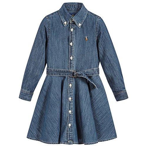 RALPH LAUREN Polo Girls Denim Indigo Dress (14)