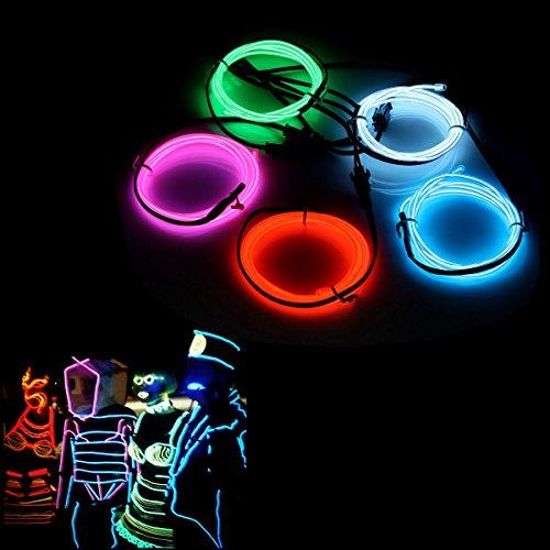 AUDEW 5x 1m Fünf Farben EL Wire EL Kabel Lichtschnur Neon Beleuchtung leuchtschnur für Weihnachtsfeiern Rave Partys Halloween Kostüm +Batterie Box