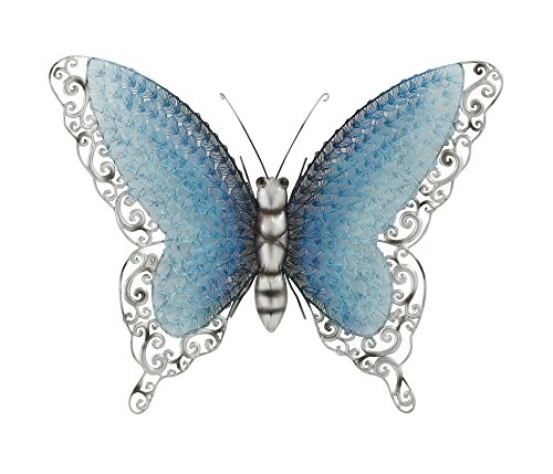 Blue Butterfly Wall Decorations - Deco 79 Contemporary Styled Metal Butterfly