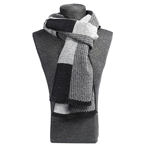 Scarf for Men Cashmere - Long Mens Scarf Cashmere Feel Spring Summer Winter Mens Scarfs Fashion Shawls Color Grey by gugugaga (Image #3)