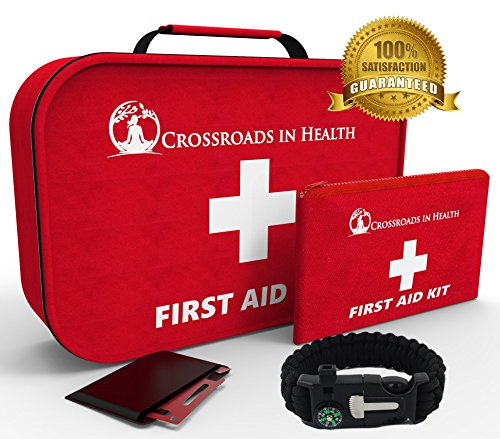First Aid Kit: Best for Home-Office-Auto-Sports-Outdoors-Mini First Aid Kit included-Bonus x 2-Multipurpose Steel Pocket Survival Tool+ Paracord Survival Bracelet by Crossroads In Health
