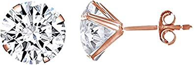 14k Rose Gold 5mm Round Simulated Gemstone Stud Earrings