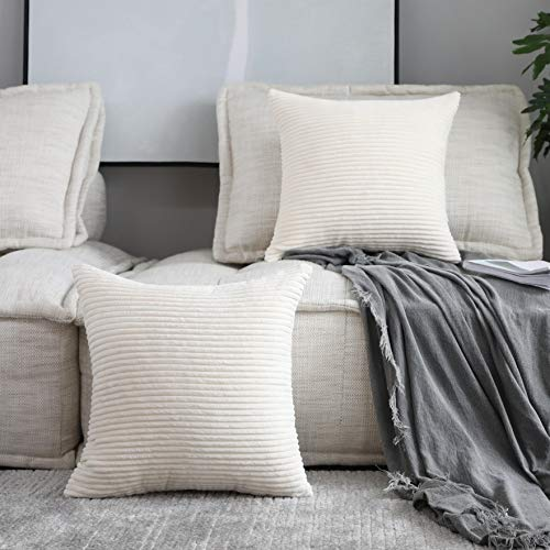 HOME BRILLIANT Decorative Accent Pillow Covers Case Striped Corduroy Plush Velvet Cushion Cover for Couch, Set of 2, Cream Cheese, 18x18-inch (45cm) ()