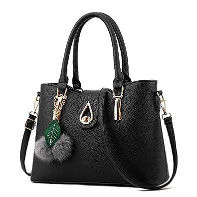 H.Tavel New Fashion Office Lady Womens Medium PU Leather Top Handle Shoulder HandBag black
