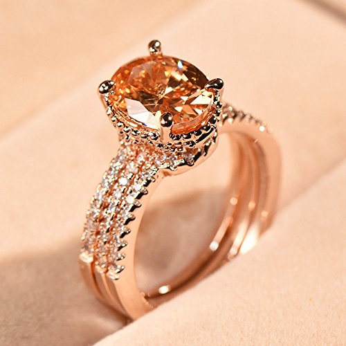 Luxury Oval Cut Champagne Topaz CZ Engagement Ring Set Rose Gold Wedding Jewelry sz 10 (Ring Engagement Genuine Topaz)