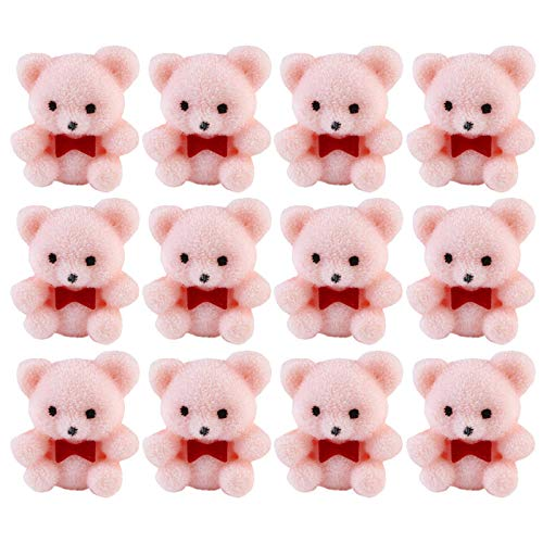 Factory Direct Craft Package of 24 Sitting Flocked Pink Miniature Teddy Bears | Tiny Bears for Favors, Crafts and More