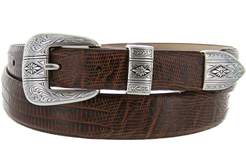 Lizard Dress Belt (Silver Mesa - Men's Italian Calfskin Designer Dress Golf Belt with Western Silver Plated Buckle Set (42 Lizard)