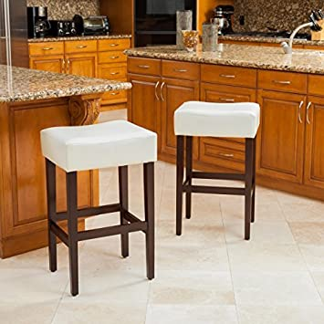 Christopher Knight Home 211322 Duff Backless Ivory Leather Bar Stools Set of 2 , WhiteBrown
