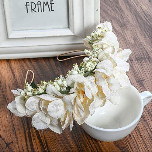 Girls Festival Fruit Headbands Tiaras Flower Crowns Bridal Headwear Hair Accessories Garland Women Beige ()