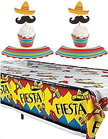 Fiesta party set - Fiesta table cover + Fiesta Cupcake Wrappers with Picks - 150 pcs Makes 50 - Fiesta Table
