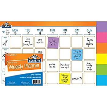 Weekly Planner, 18x12-inches, 52 Weeks with 300 Perfect-fit Adhesive Notes