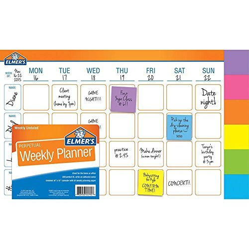 Weekly Planner, 18x12-inches, 52 Weeks with 300 Perfect-fit Adhesive (Note Calendar)