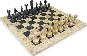 "12"" Fossil & Black Marble Stone Chess Set Comes in Velvet Gift Box. Size Suitable for Pros"