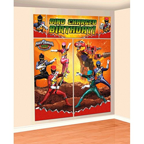 Amscan Power Rangers Dino Charge Scene Setters Wall Decorating Kit ()