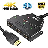 3 Port 4K HDMI Switch USBNOVEL High Speed 3x1 HDMI Switcher Hub with Fixed 3.3Ft Pigtail Cable Supports 4K x 2K 3D 1080P HD Audio for HDTV XBOX PS3 PS4 BluRay DVD Player