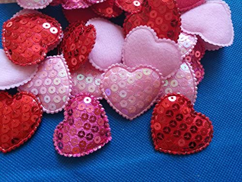 1 3//4, 3 Colors YYCRAFT 45pcs Padded Sequin Heart Appliques for Sewing Scrapbooking Crafts