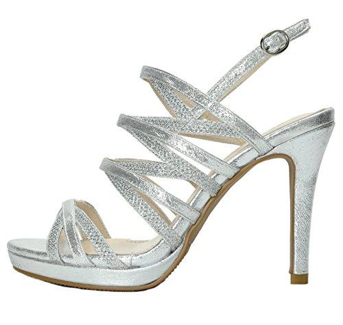 3 Silver Pump Dress Stiletto Sandals PAIRS DREAM Women's Heel UHt8qwRxan