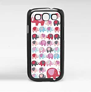 Girly Red and Blue Elephants Pattern Hard Snap on Phone Case (Galaxy s3 III)
