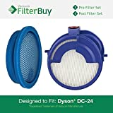 Dyson DC24 (DC-24) Pre & Post Motor Replacement Filter Kit, Part #s 913788-01 & 915928-01. Designed by FilterBuy to fit All Dyson DC-24 Ball Upright Vacuums