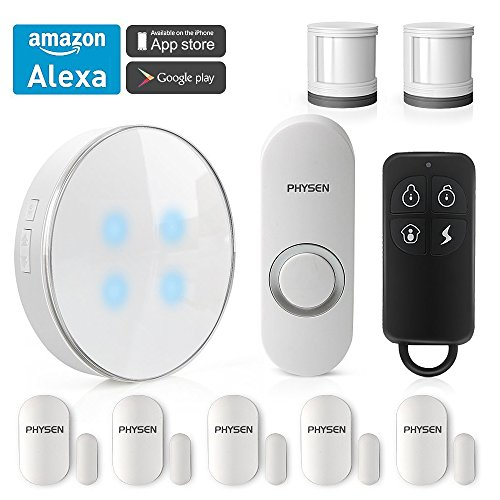 PHYSEN Wireless Smart Home Security System kit with 1 Smart WiFi Hub,1 Doorbell Button,2 Motion Sensors,5 Contact Sensors and 1 Remote Control,Control by Smartphone APP,Work with Alexa by PHYSEN