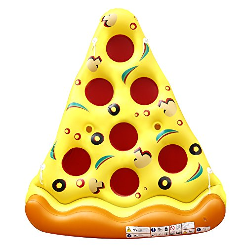 Acekid Inflatable Pool Float Giant Pizza Slice Float Swimming Pool Floatie Lounge Raft with Cup Holders Party Toy 6 Feet x 5 Feet (Pizza)