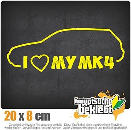 Chrom I Love my MK4 20 x 8 cm IN 15 FARBEN Sticker Aufkleber Neon