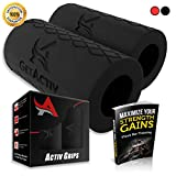 Cheap Activ Grips – Thick Bar Training Adapter [1 Set] w/ Bonus E BOOK // Fat Grip Attachment Fits On Barbell, Dumbbell, Cable Attachment For Extreme Muscle Growth – Strengthen Forearms, Biceps, Triceps