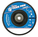 Weiler 51140 Tiger Paw High Performance Abrasive Flap Disc, Type 27 Flat Style, Phenolic Backing, Zirconia Alumina, 7'' Diameter, 5/8''-11 Arbor, 40 Grit, 8600 RPM (Pack of 10)