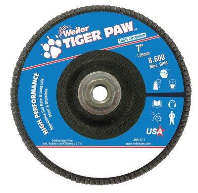 Weiler 51140 Tiger Paw High Performance Abrasive Flap Disc, Type 27 Flat Style, Phenolic Backing, Zirconia Alumina, 7'' Diameter, 5/8''-11 Arbor, 40 Grit, 8600 RPM (Pack of 10)