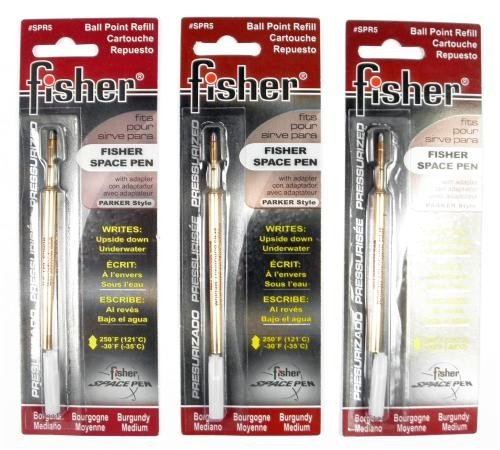 Fisher Space Pen - 3 Pressurized Cartridges Burgundy Ink Medium Point #SPR5