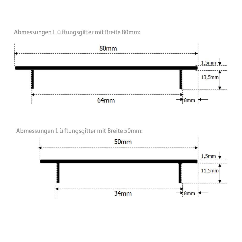 50x400mm Alu Aluminium L/üftungsgitter Stegblech L/üftungssieb Abluftgitter Lochblech Lochgitter Alu eloxiert Mister LONG 2X