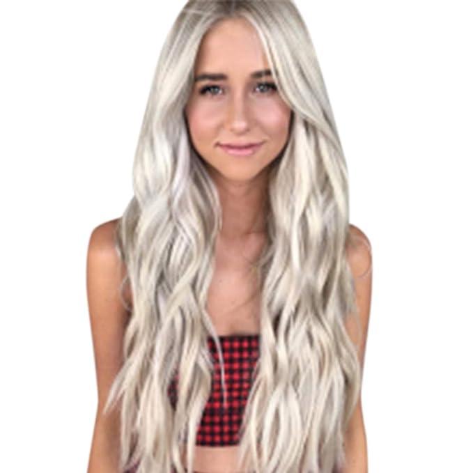 Yivise - Peluca de pelo largo rizado, fibra de alta ...