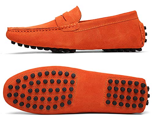 TSIODFO Men's Driving Penny Dress Loafers Suede Leather Driver Moccasins Slip On Shoes (2088-Orange-42) Calfskin Leather Mens Sneakers