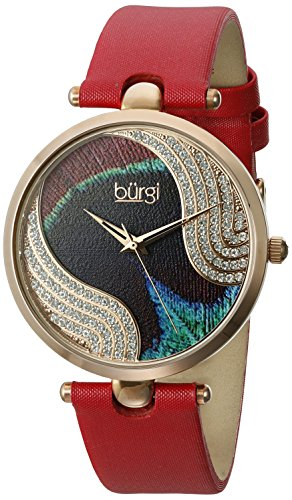 Burgi Women's BUR131RD Swarovski Crystal Accented Peacock Feather Dial Rose Gold and Red Satin over Leather Strap Watch