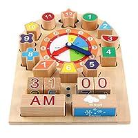 New Sky Enterprises Wooden Block Clock Color Shape Sorter Match Game Weather Station Kids Basic Life Skills Development Preschool Toy