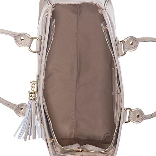 Laura Moretti - Bolso de piel auténtica con pom pon y detalles metálicos Taupe
