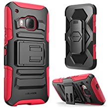 HTC One M9 Case ,i-Blason Prime [Kickstand] HTC One Hima H9 2015 Release [Heavy Duty] [Dual Layer] Combo Holster Cover case with [Locking Belt Swivel Clip] (Red)