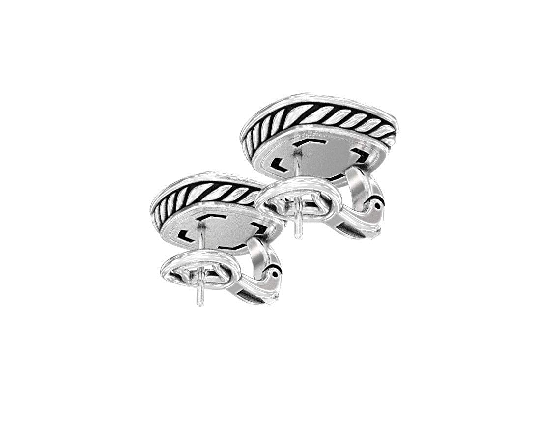Gempara Designer Inspired 14K White Gold Plated 11x11mm Albion Stud Earrings with Black Onyx and VS1 Clarity Simulated Diamonds Gempara Jewels Pvt Ltd