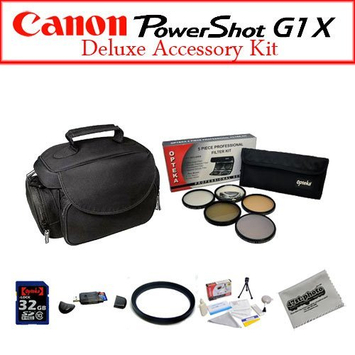 Canon G1X Intermediate Accessory Package Featuring Opteka Microfiber Gadget Bag, 32GB Class 10 Digital Memory Card And More by 47th Street Photo