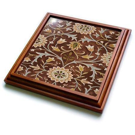 3dRose trv_243616_1 Image of William Morris Little Flower In Brown Olive & Gold Trivet with Ceramic Tile, 8 x 8