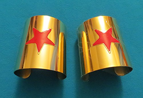 DC Comics WONDER WOMAN Set of 2 Metal CUFF BRACELETS (Wonder Woman Cuff Bracelet)