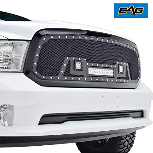 EAG Grille Rivet Black SS Wire Mesh W/Shell and LED Lights for 13-18 Dodge Ram 1500 (Inserts Dodge Ram Grille)