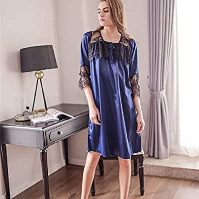 1a190530f54073 YAN Damen Dressing Kimono Kleid, Satin Short Robe Bademantel Brautjungfer  Hochzeit Nachtwäsche Pyjama Nachtwäsche Büste 106cm (Farbe : 1)